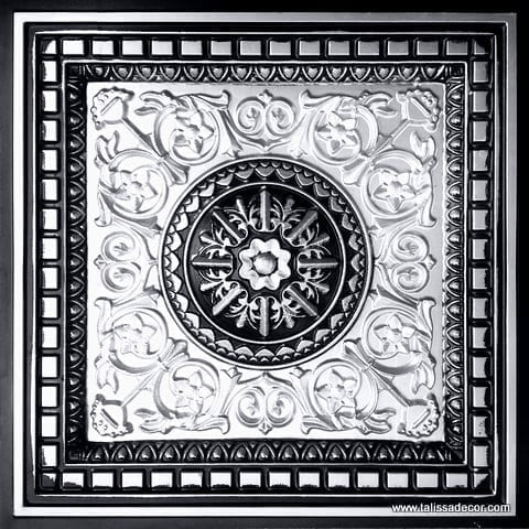 215 Silver-Antique Silver  Faux Tin Coffered Ceiling Tile