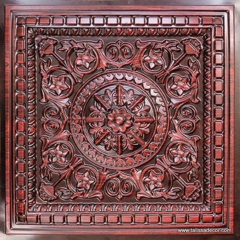 215 Antique Rosewood Faux Tin Coffered Ceiling Tile