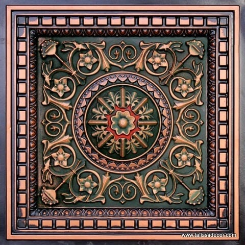 215 Antic Copper-Patina-Red Faux Tin Coffered Ceiling Tile