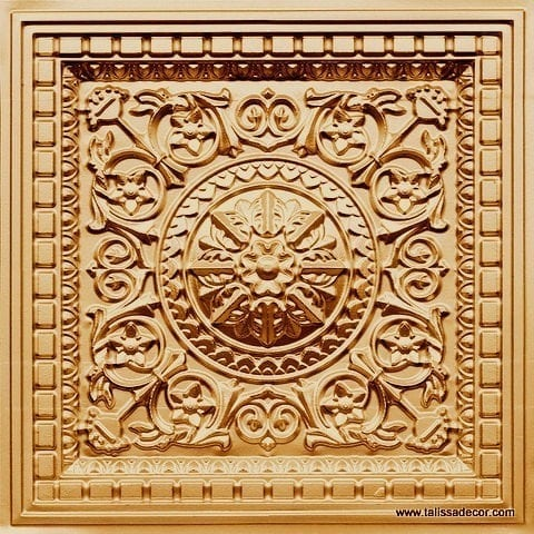 215 Gold Faux Tin Coffered Ceiling Tile