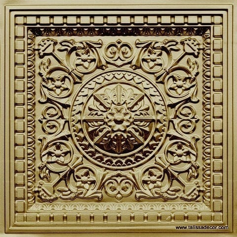 215 Brass Faux Tin Coffered Ceiling Tile