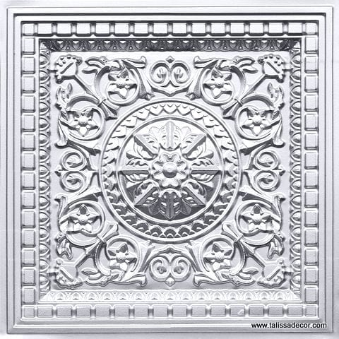 215 Silver Faux Tin Coffered Ceiling Tile