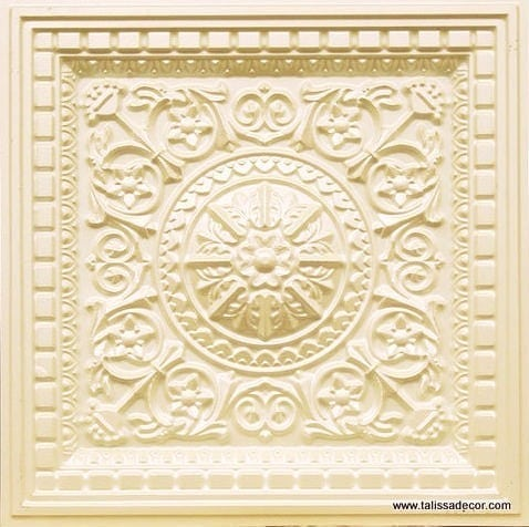 215 Cream Pearl Faux Tin Coffered Ceiling Tile
