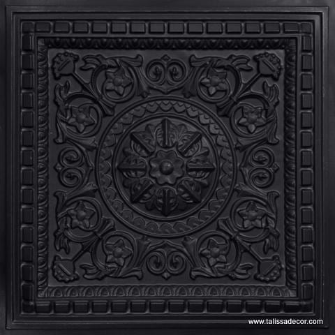 215 Black Matte Faux Tin Coffered Ceiling Tile