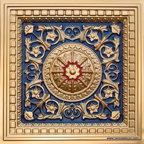215 Gold- Royal Blue-Red Faux Tin Coffered Ceiling Tile
