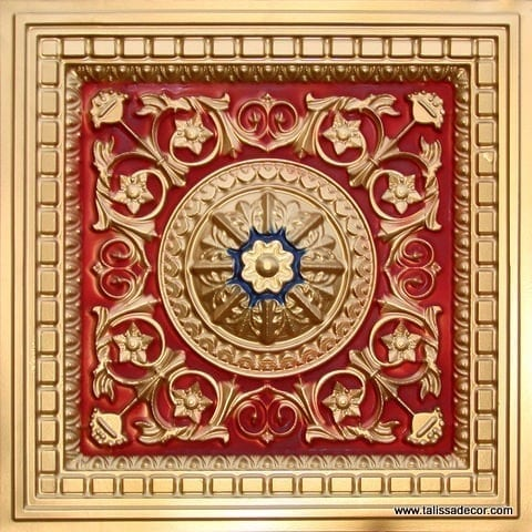 215 Gold-Red-Royal Blue Faux Tin Coffered Ceiling Tile