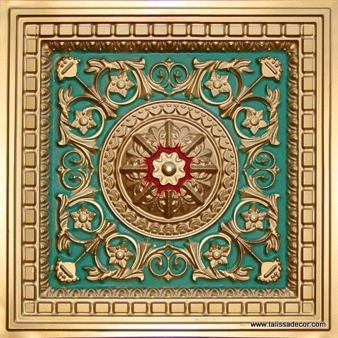 215 Gold-Green-Red Faux Tin Coffered Ceiling Tile