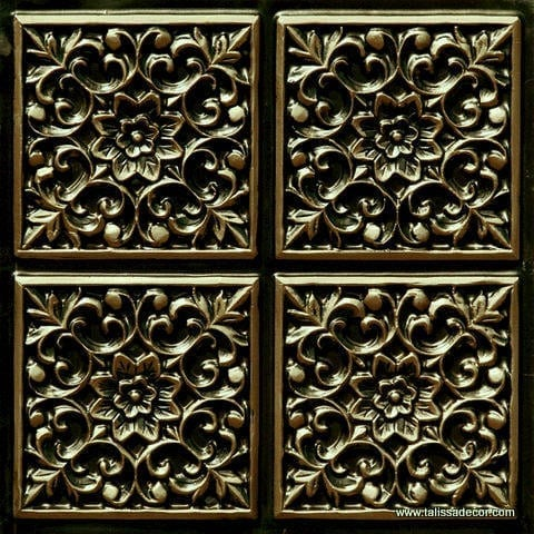 109 Antique Brass Faux Tin Ceiling Tile