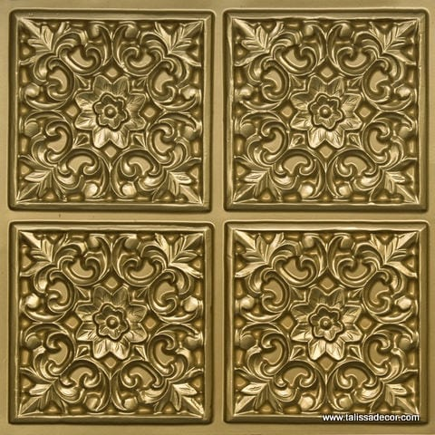 109 Brass Faux Tin Ceiling Tile