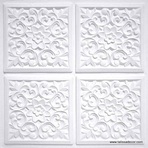 109 White Matte Faux Tin Ceiling Tile