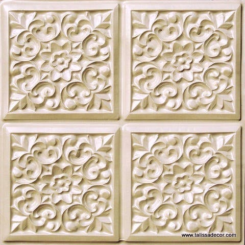 109 Cream Pearl Faux Tin Ceiling Tile