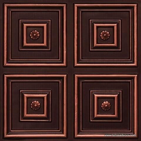 112 Antique Copper Faux Tin Ceiling Tile