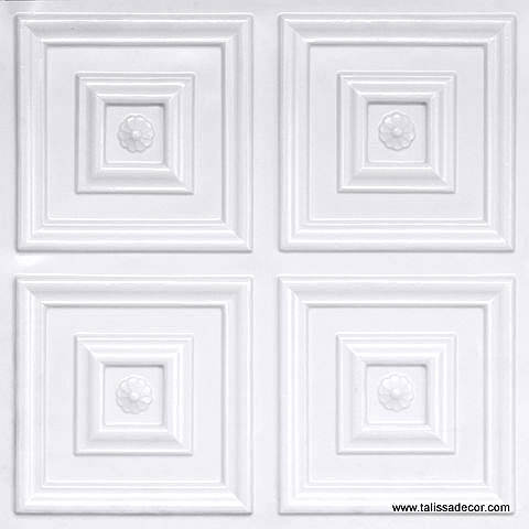 112 White Pearl Faux Tin Ceiling Tile