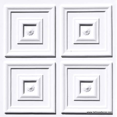 112 White Matte Faux Tin Ceiling Tile