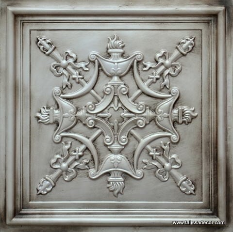 TD07 Antique White Faux Tin Ceiling Tile - Talissa Signature Collection