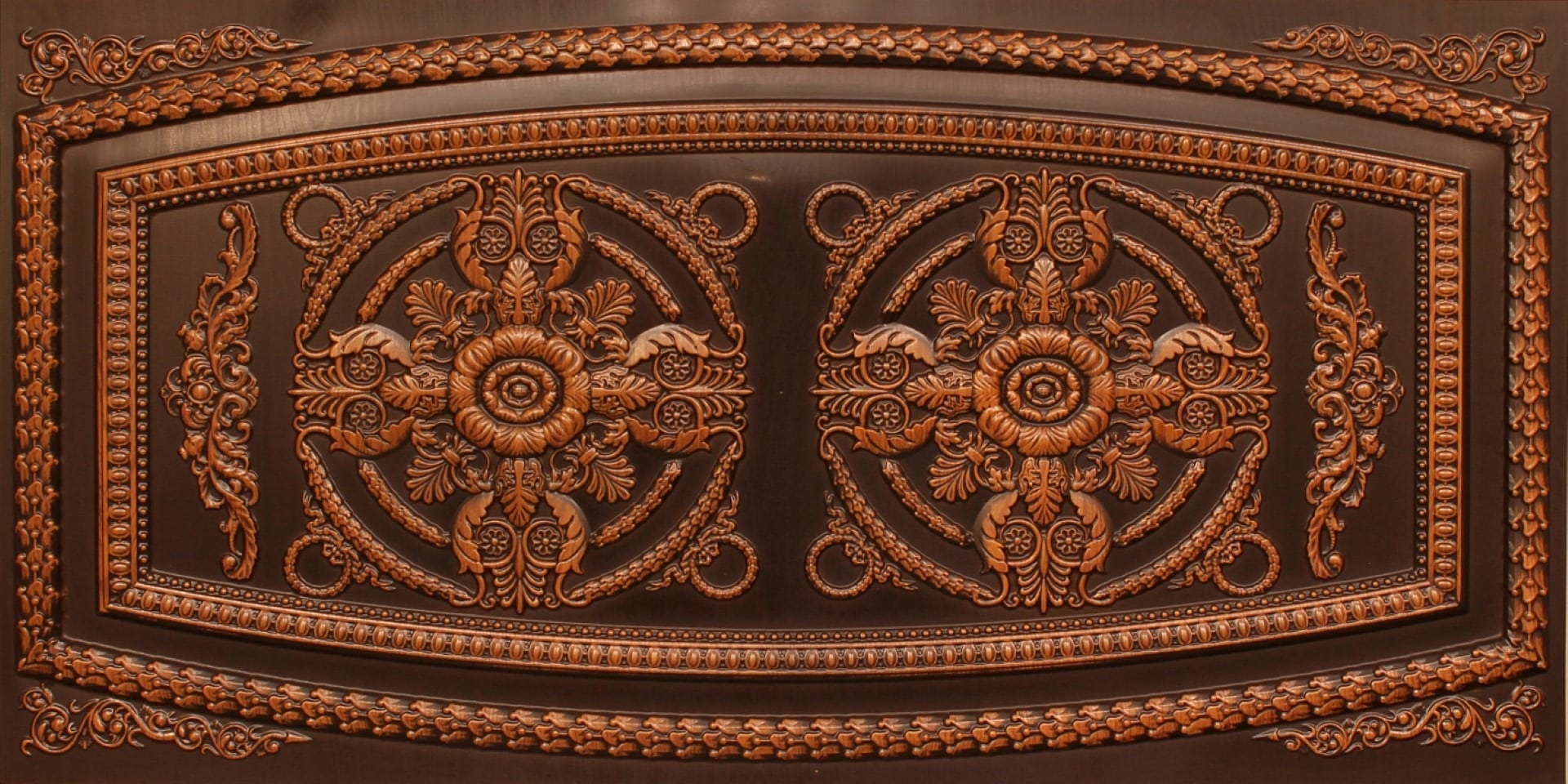 8272 Faux Tin Ceiling Tile - Antique Teakwood