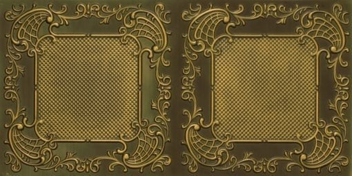 8269 Faux Tin Ceiling Tile - Antique Brass
