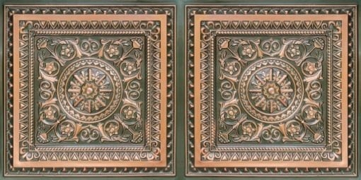 8223 Faux Tin Ceiling Tile - Patina Copper