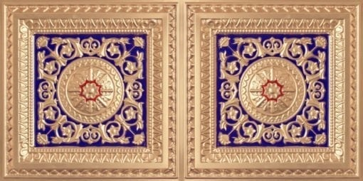 8223 Faux Tin Ceiling Tile - Gold-Royal Blue-Red