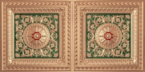 8223 Faux Tin Ceiling Tile - Gold-Green-Red