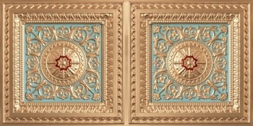 8223 Faux Tin Ceiling Tile - Gold-Skyblue-Red