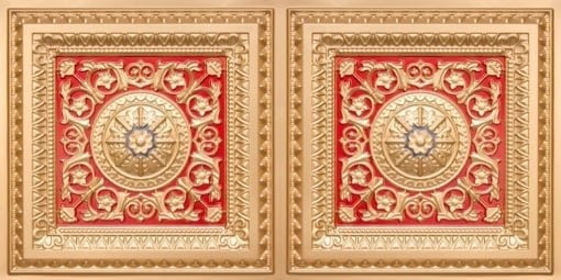 8223 Faux Tin Ceiling Tile - Gold-Red-Blue