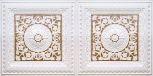 8223 Faux Tin Ceiling Tile - White Pearl-Gold