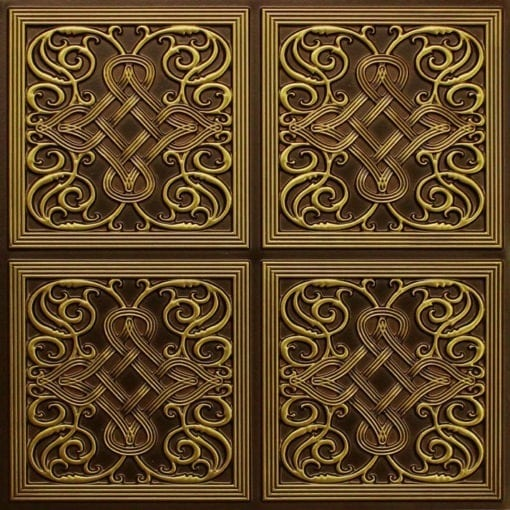 245 Faux Tin Ceiling Tile - Antique Brass