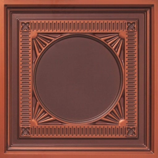 266 Faux Tin Ceiling Tile - coffered - Antique Copper
