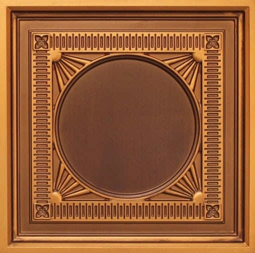 266 Faux Tin Ceiling Tile - coffered - Antique Gold