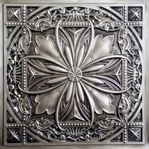 TD10 Faux Tin Ceiling Tile - Talissa Signature Collection - Aged Silver