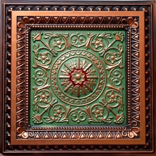 223 Antique Copper-Patina-Red Faux Tin Ceiling Tile