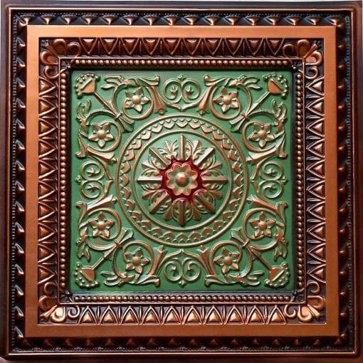 223 Antique Copper-Patina-Red Faux Tin Ceiling Tile