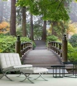 MU1378 - Wooden Foot Bridge in a Japanese Garden