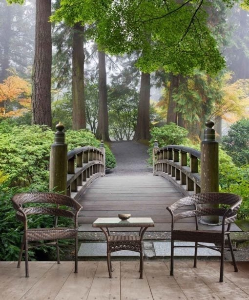 MU1378 - Wooden Foot Bridge in a Japanese Garden