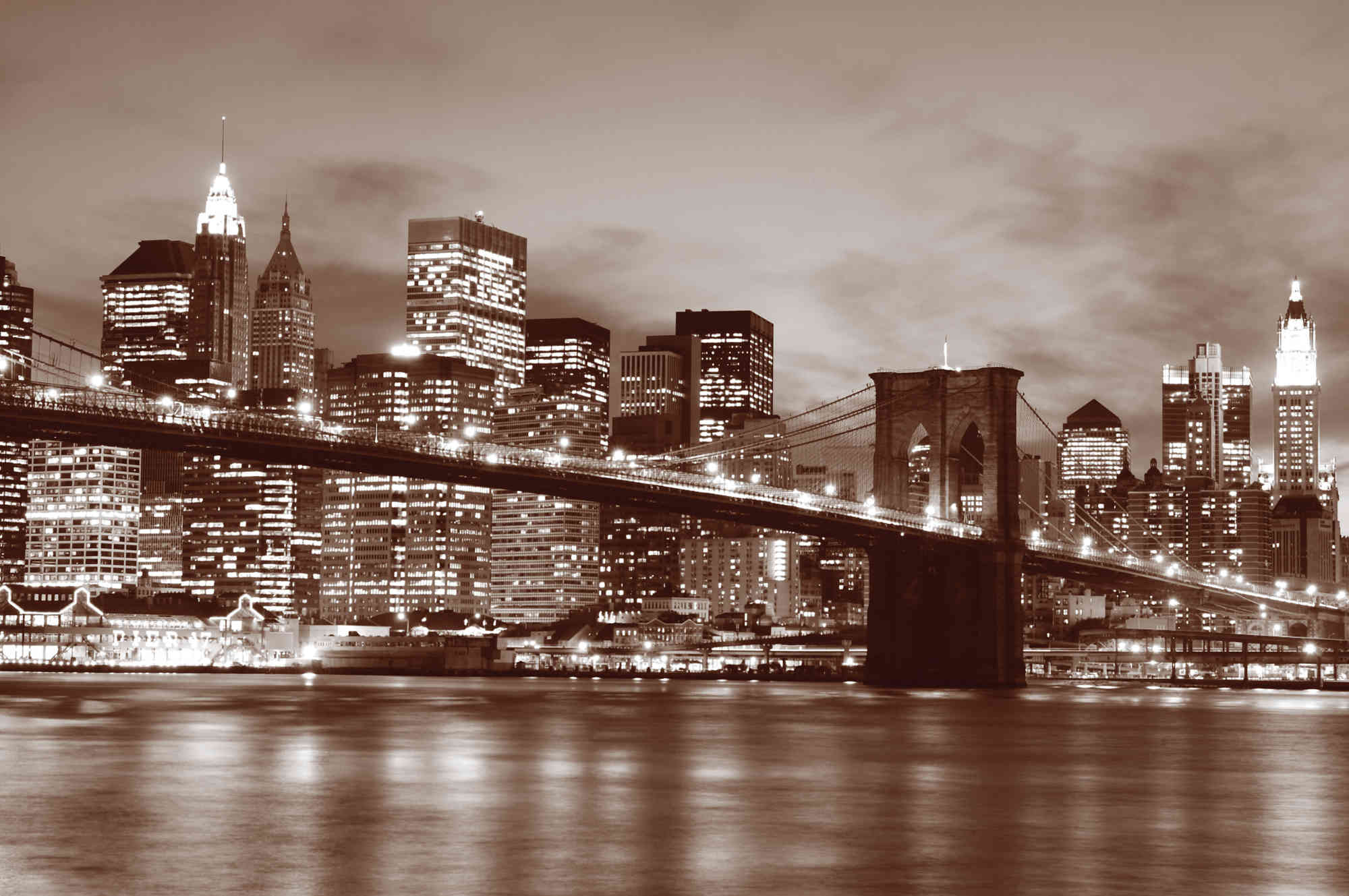 MU1241 - Brooklyn Bridge at Night (Sepia)