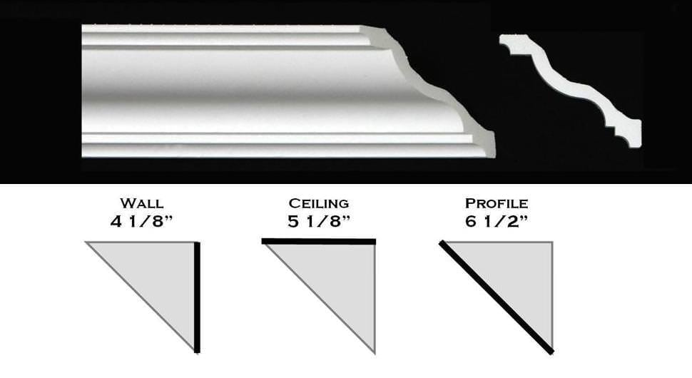 "130ML - Polystyrene Crown Molding 6 1/2"" wide"