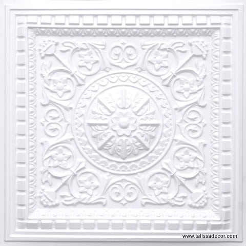 215 White Matte Faux Tin Coffered Ceiling Tile