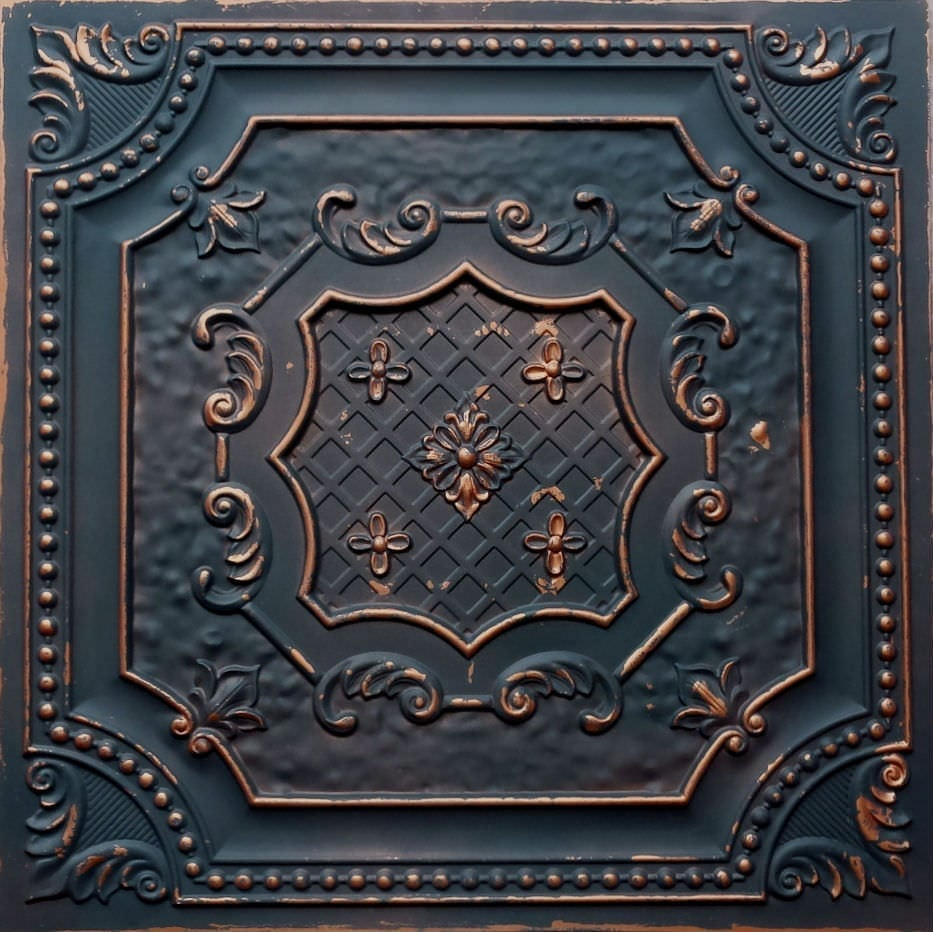 TD04 Graphite Gold Faux Tin Ceiling Tile - Talissa Signature Collection