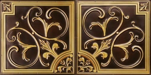 8204  Faux Tin Ceiling Tile - Antique Brass