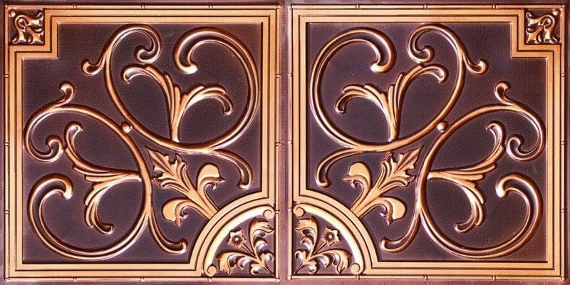 8204  Faux Tin Ceiling Tile - Antique Copper