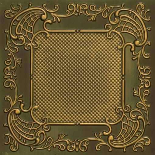 269 Faux Tin Ceiling Tile - Antique Brass