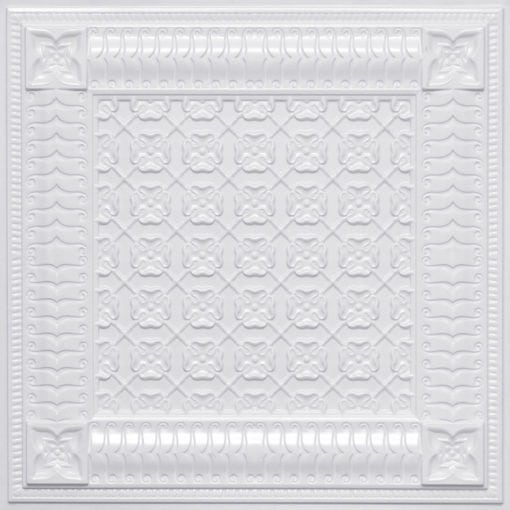 256 Faux Tin Ceiling Tile - White Pearl