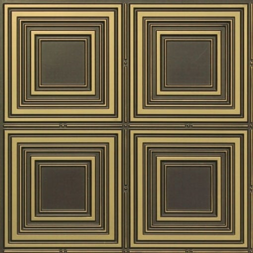 257 Faux Tin Ceiling Tile - Antique Brass