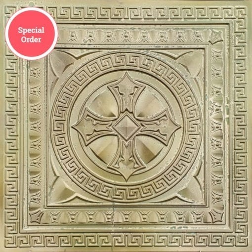 TD01 Faux Tin Ceiling Tile - Talissa Signature Collection - Aged Brass