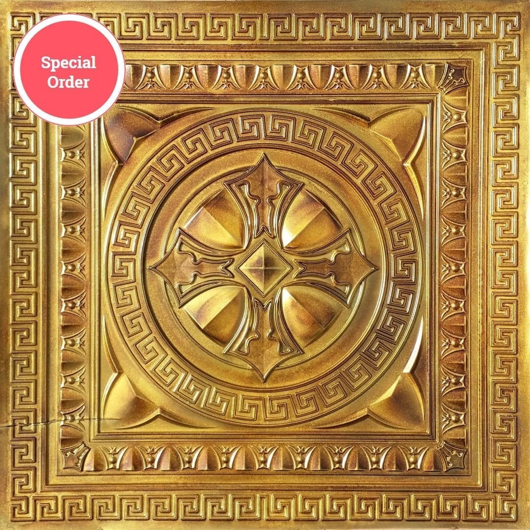 TD01 Aged Copper Faux Tin Ceiling Tile - Talissa Signature Collection