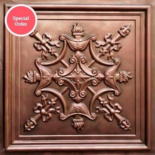 TD07 Faux Tin Ceiling Tile - Rustic Copper