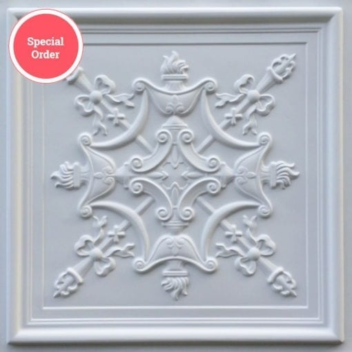 TD07 Faux Tin Ceiling Tile - White Matte