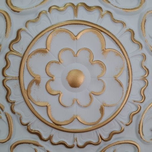 TD09 Faux Tin Ceiling tile - White Matte Gold