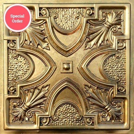 TD11 Faux Tin Ceiling Tile - Aged Brass